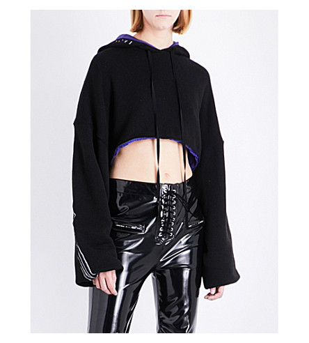 UNRAVEL Reversible stretch-cotton cropped hoody (Black
