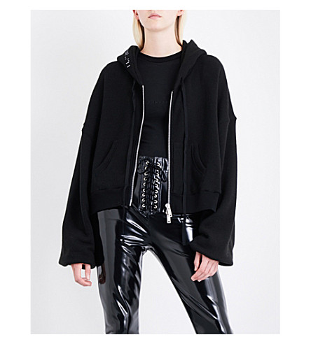 UNRAVEL Oversized cotton and cashmere-blend hoody (Black