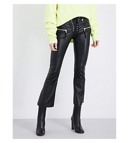 UNRAVEL Lace-front flared leather pants (Black