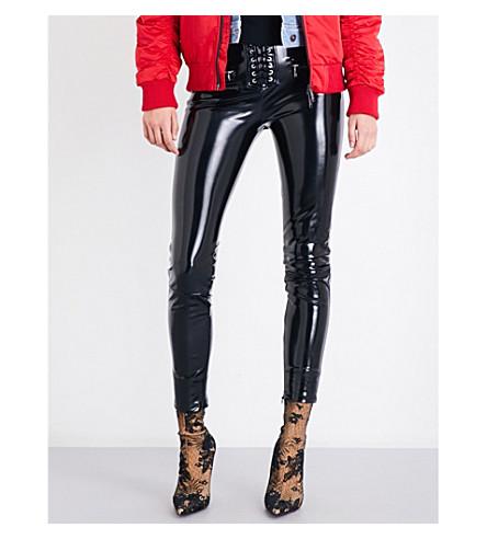 UNRAVEL Skinny high-rise latex trousers (Black