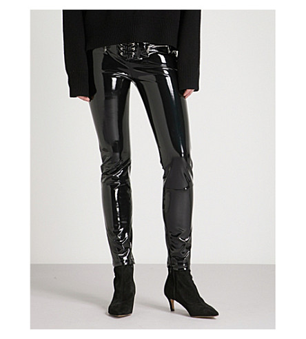 UNRAVEL Lace-up skinny PVC trousers (Black