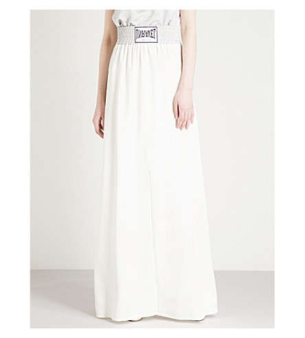 UNRAVEL Logo-embroidered high-rise silk-satin maxi skirt (White