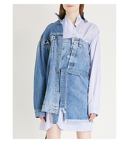 UNRAVEL Hybrid denim jacket dress (Indigo+stone+multi