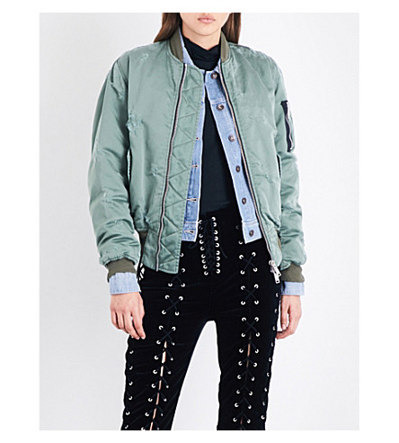 UNRAVEL Distressed satin bomber jacket (Army
