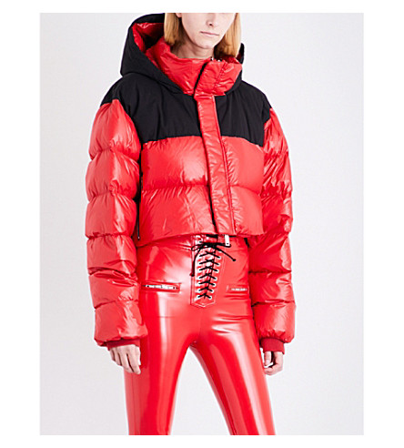 UNRAVEL High-shine padded shell cropped puffer jacket (Red