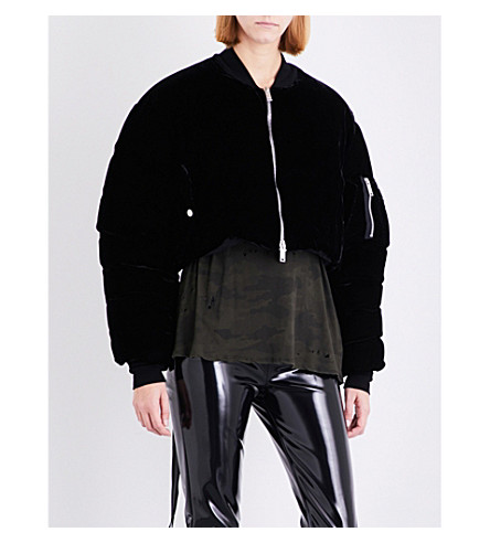 UNRAVEL Cropped velvet bomber jacket (Black