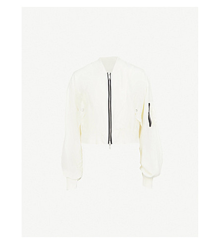 UNRAVEL Ghost Reconstructed Chop silk bomber jacket (Off+white
