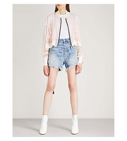 UNRAVEL Ghost Reconstructed Chop shell bomber jacket (Light+pink