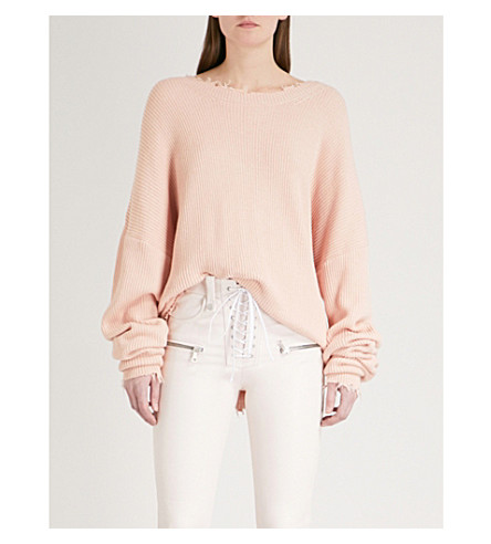 UNRAVEL Distressed cotton and cashmere-blend jumper (Knit+light+pink