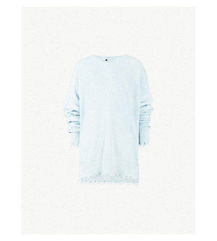 UNRAVEL Distressed ribbed cotton and cashmere-blend jumper (Misty+blue
