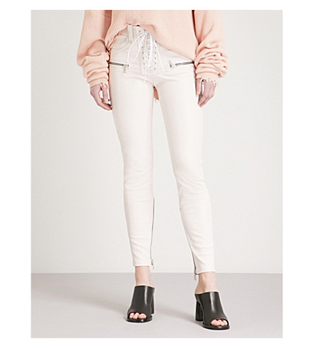 UNRAVEL Lace-up slim-fit skinny high-rise leather trousers (Light+pink