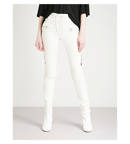 UNRAVEL Motorpant slim-fit skinny mid-rise jeans (White