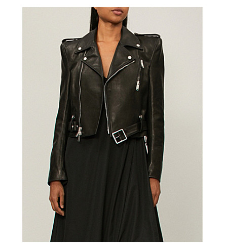 UNRAVEL Spalline leather biker jacket (Black