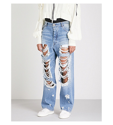 UNRAVEL Baggy Boy distressed straight high-rise jeans (Boy+indigo