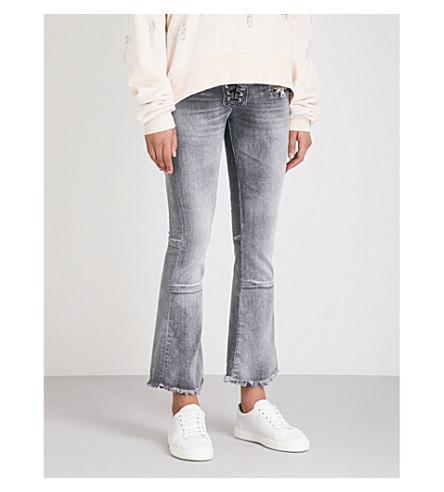 UNRAVEL Lace-up frayed-hem flared high-rise jeans (Flarecro+stone+wash