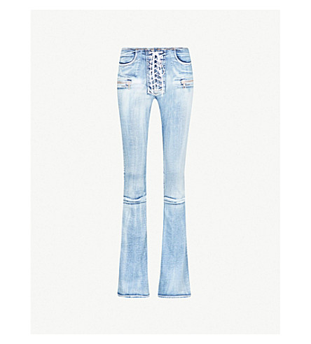 UNRAVEL Pota skinny flared mid-rise jeans (Blue