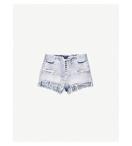 UNRAVEL Rawaist mid-rise denim shorts (Short+light+stone