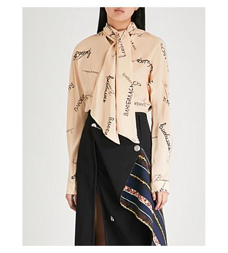 NATASHA ZINKO Love-print silk-crepe shirt (Beige