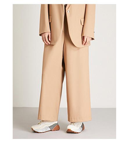 leg wool Beige NATASHA cropped wool ZINKO trousers NATASHA cropped Wide ZINKO Wide leg aRZpx