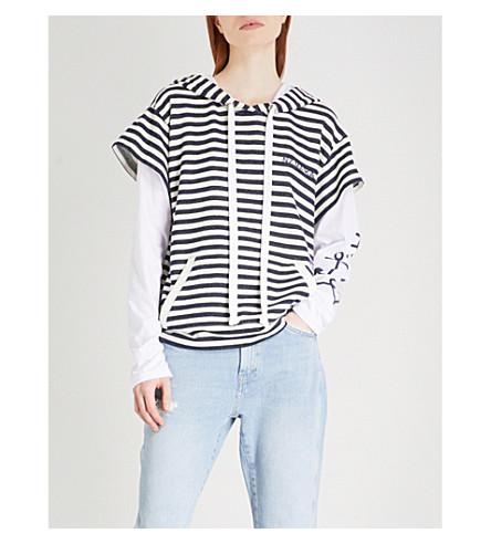 NATASHA ZINKO Striped layered cotton hoody (Striped