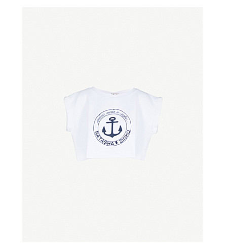 NATASHA ZINKO Logo-print cotton-jersey cropped top (White