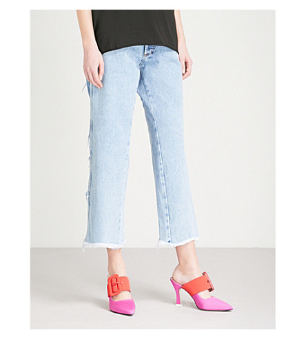 NATASHA ZINKO Contrast-panel wide-leg high-rise jeans (Denim