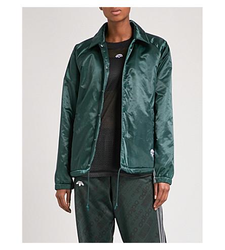 ADIDAS X ALEXANDER WANG 教练缎布夹克 (绿色 + 夜/+ 黑色