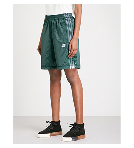 ADIDAS X ALEXANDER WANG Adibreak satin shorts (Green+night/+black