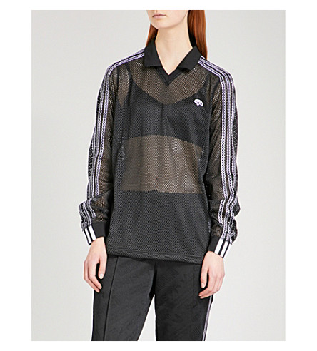 ADIDAS X ALEXANDER WANG 3-Stripes-detail mesh polo shirt (Black