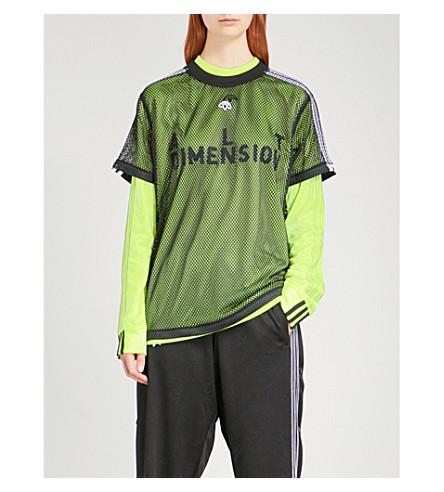 ADIDAS X ALEXANDER WANG Logo-embroidered sports mesh T-shirt (Black