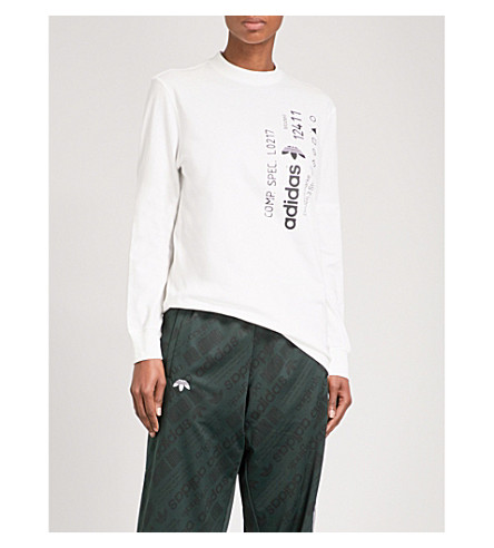 ADIDAS X ALEXANDER WANG Graphic-print cotton-jersey top (Core+white