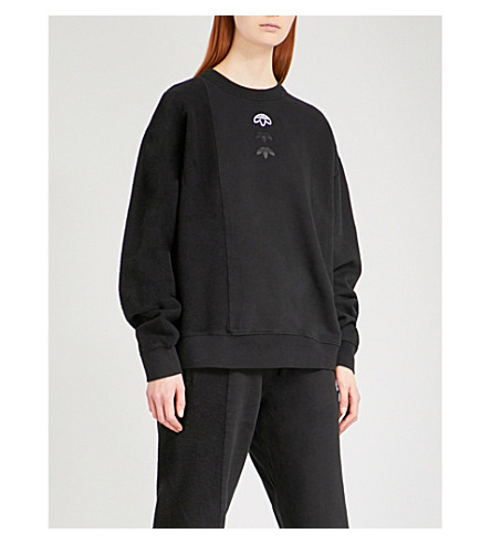 ADIDAS X ALEXANDER WANG Logo-embroidered fleece-panel cotton sweatshirt (Black