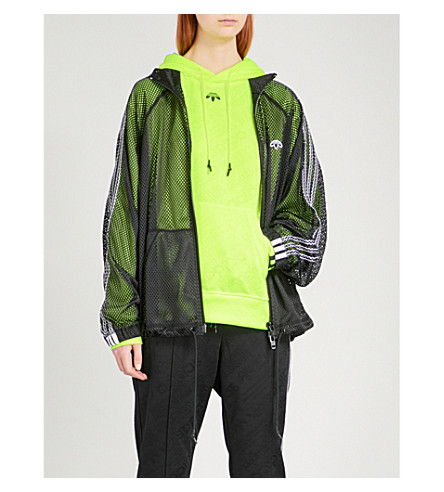 ADIDAS X ALEXANDER WANG Logo-embroidered sports mesh jacket (Black