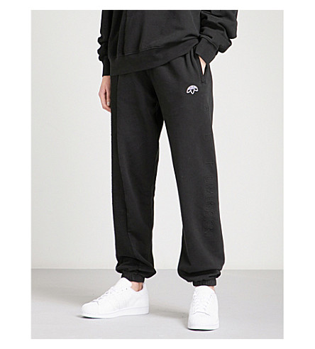 ADIDAS X ALEXANDER WANG Logo-embroidered cotton-jersey jogging bottoms (Black