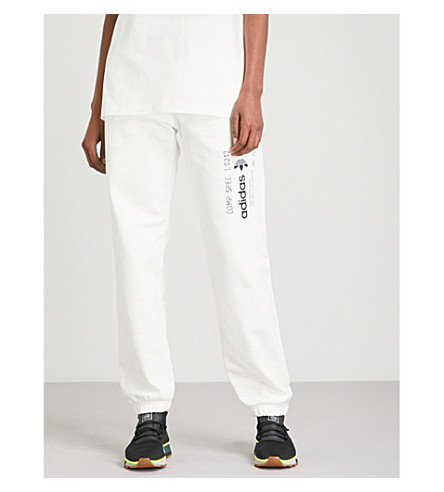 ADIDAS X ALEXANDER WANG Graphic-print cotton-jersey jogging bottoms (Core+white