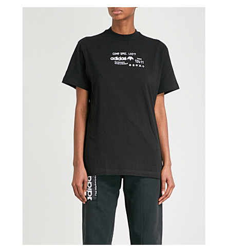ADIDAS X ALEXANDER WANG 图形打印平纹针织棉 T 恤 (黑色