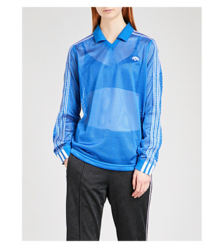 ADIDAS X ALEXANDER WANG 3-Stripes-detail mesh polo shirt (Bluebird