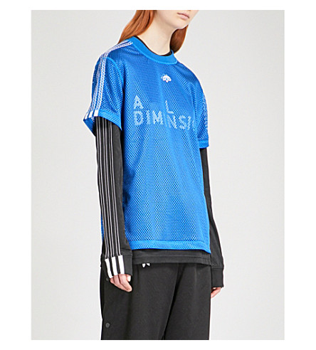 ADIDAS X ALEXANDER WANG 3-Stripes-detail mesh T-shirt (Bluebird