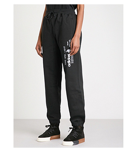 ADIDAS X ALEXANDER WANG Graphic-print cotton-jersey jogging bottoms (Black