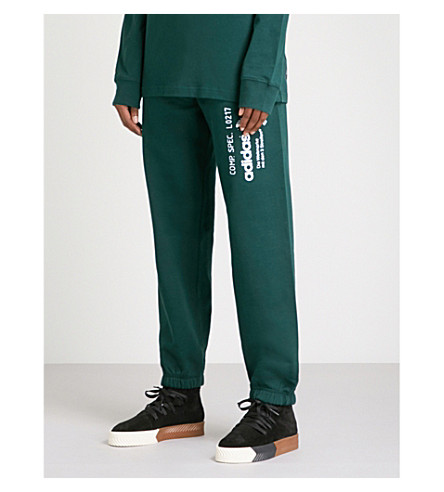 ADIDAS X ALEXANDER WANG Graphic-print cotton-jersey jogging bottoms (Green+night