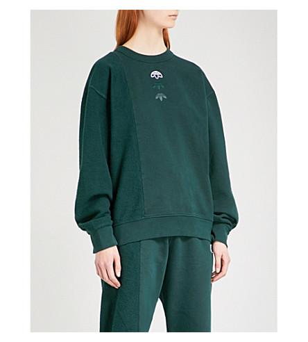 ADIDAS X ALEXANDER WANG Logo-embroidered fleece-panel cotton sweatshirt (Green+night