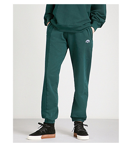 ADIDAS X ALEXANDER WANG Logo-embroidered cotton-jersey jogging bottoms (Green+night