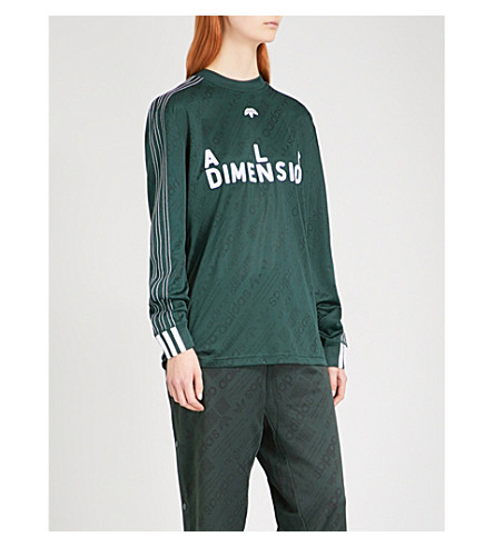 ADIDAS X ALEXANDER WANG Text-flocked jersey soccer top (Green+night/+white