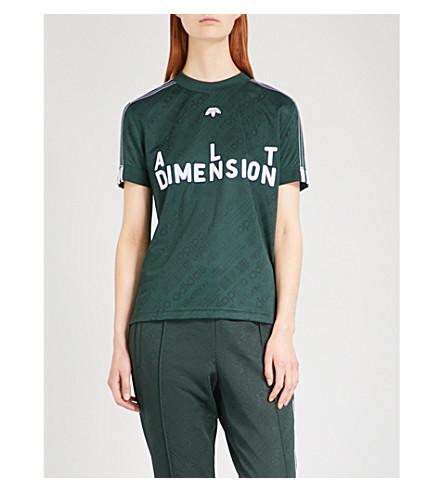ADIDAS X ALEXANDER WANG Text-flocked jersey soccer T-shirt (Green+night/+white
