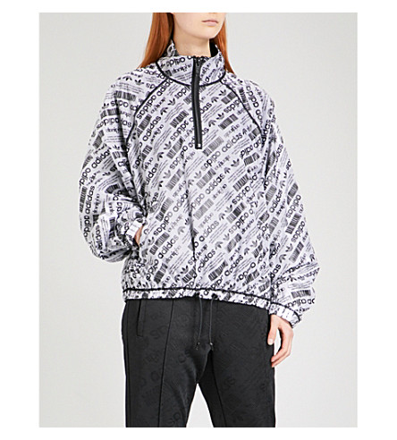ADIDAS X ALEXANDER WANG Logo-print sports mesh shell coat (White/+black