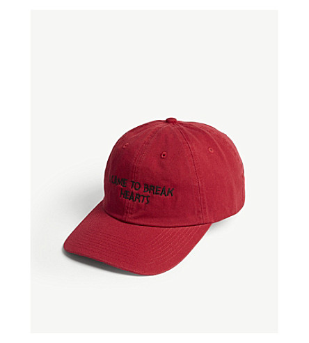 NASASEASONS I Came To Break Hearts embroidered baseball cap (Black+on+red