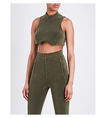 YEEZY Season 4 sleeveless stretch-towelling cropped top (Army