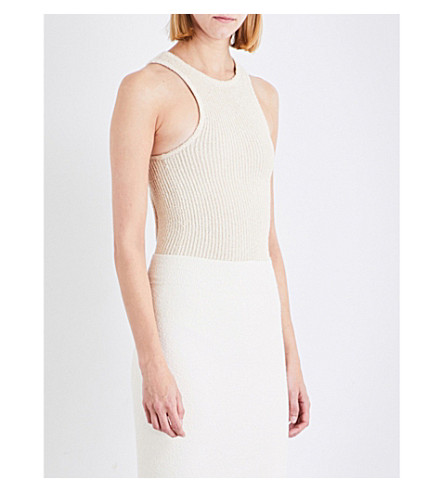 YEEZY Cutout-back knitted body (Oatmeal