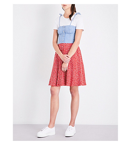 ESPRIT X OPENING CEREMONY Floral-print denim and jersey dress (Multi