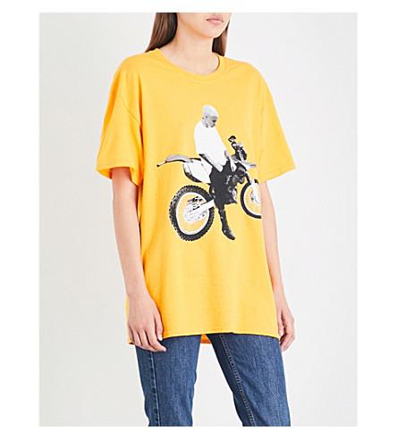 JUSTIN BIEBER Motorcycle cotton-jersey T-shirt (Gold+black
